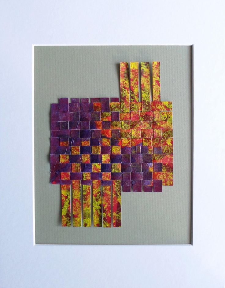 Abstract Art Weaving in Purple Yellow and Red Housewarming Gift Idea Ready to Ship by KeksArtCollection on Etsy