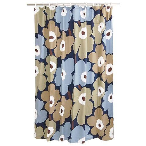 Marimekko Unikko Dusk Cotton Shower Curtain - Marimekko Shower Curtains $59.95
