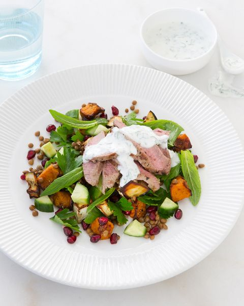 Warm Lamb, Pumpkin and Pomegranate Salad with Mint Yoghurt Dressing