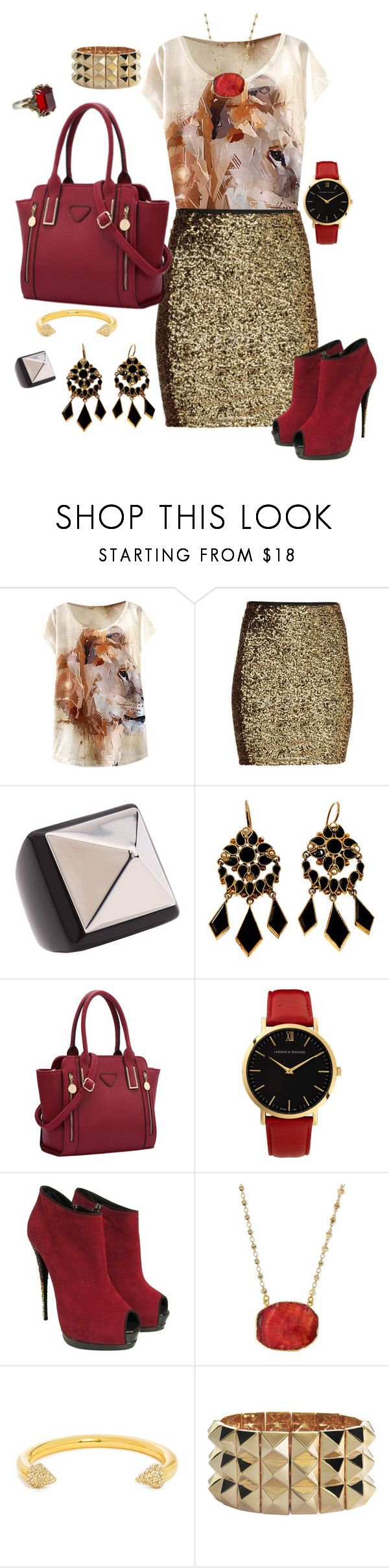 """""""Red & Gold & Black"""" by bebe6121985 on Polyvore featuring moda, Marc by Marc Jacobs, Larsson & Jennings, Giuseppe Zanotti, Panacea, BaubleBar, Noir Jewelry i Alexander McQueen"""