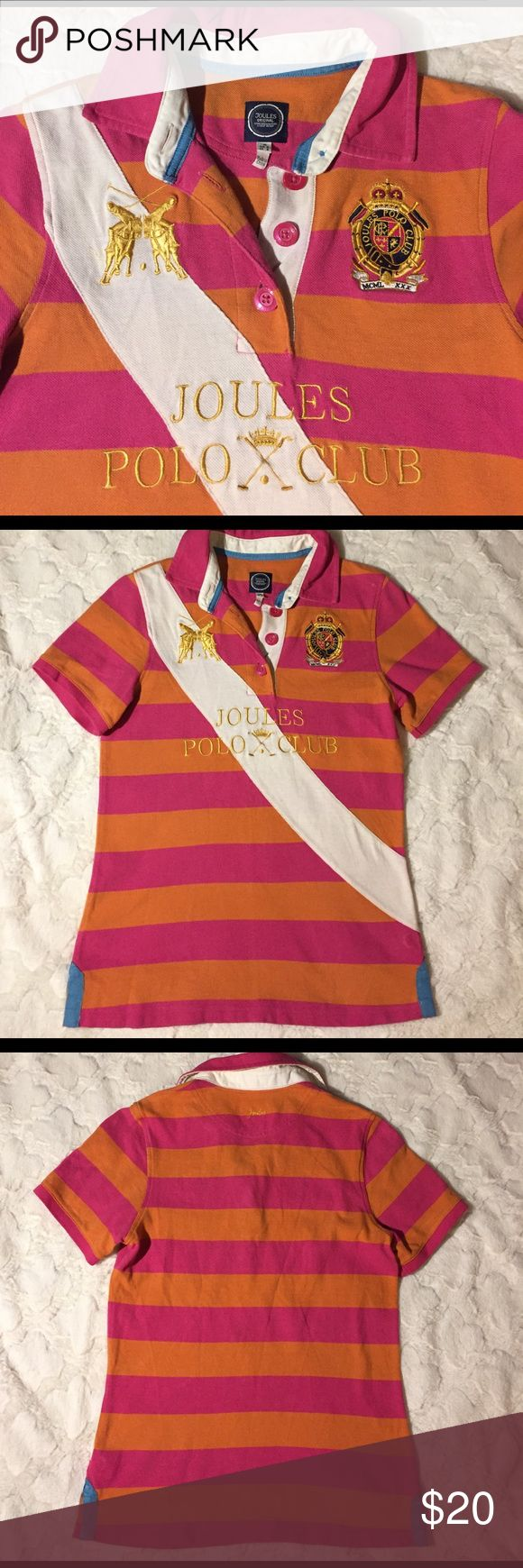 Joules Elita Orange & Hot Pink Polo Shirt, 6 Excellent used condition. No rips, tears or stains. 17' pit to pit. 24' shoulder to hem. Pink/Orange/cream/blue. Extra button. 100% cotton. Joules Tops Button Down Shirts
