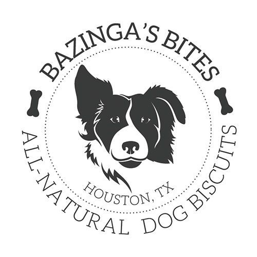 round logo with dog head in the middle