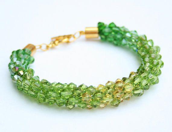 Green Beaded Kumihimo Bracelet Beadweaving Beadwork by EmmaEmJD, £15.76
