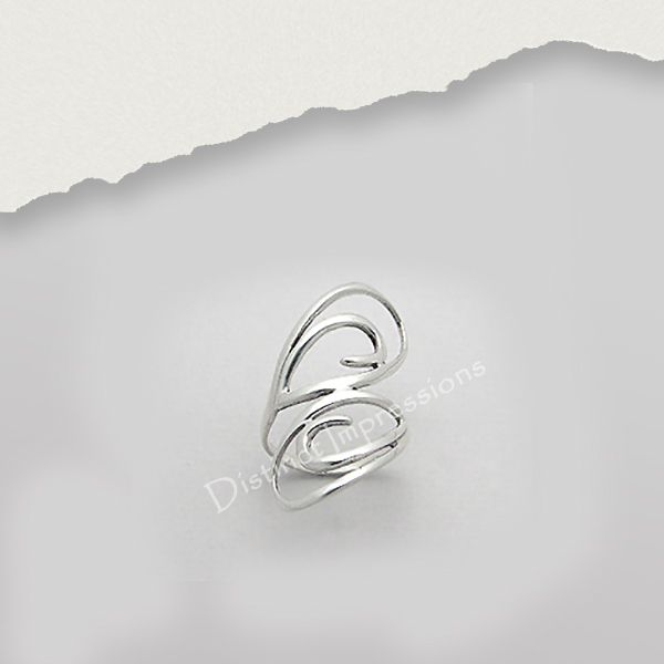 Add a fun touch to your wardrobe with this sterling silver ring. Crafted of sterling silver, the polished ring features a scrolling swirl motif .