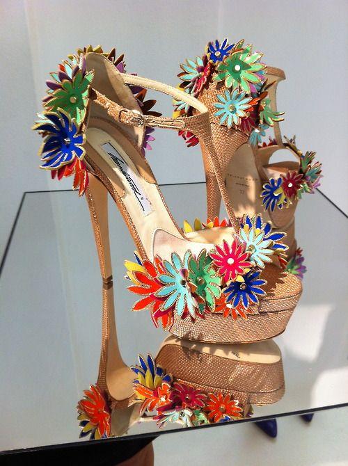 Brian Atwood fleur fashion high heel flower pumps