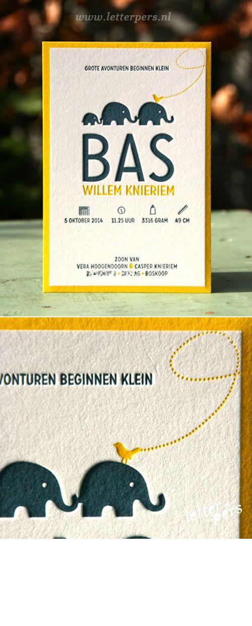 Een stoere kleurencombinatie met een speels design. De kaarten zijn bedrukt met 2 kleuren verdiept in het 600 grams papier.