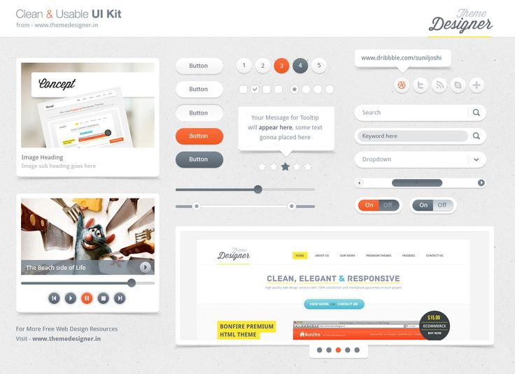 Freebies - Clean & Usable UI Kit