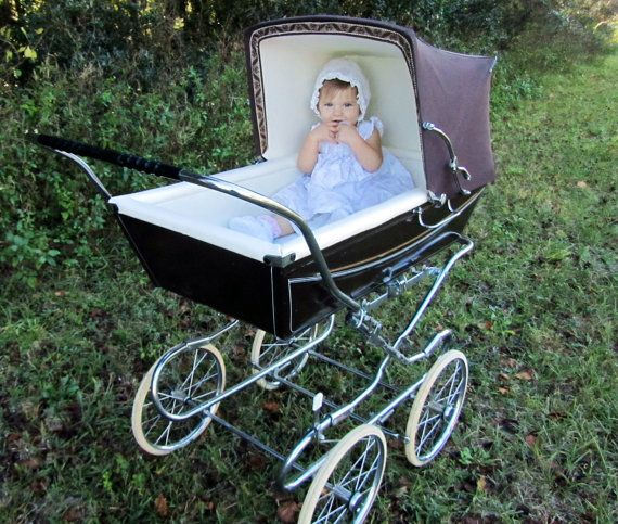 vintage silver across baby stroller english baby carriage baby pram bassinet baby photo prop. Black Bedroom Furniture Sets. Home Design Ideas