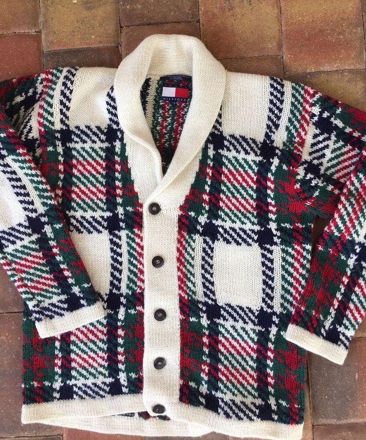 Vintage Tommy Hilfiger Mens Cardigan Sweater Size Large L RARE  #TommyHilfiger #Cardigan