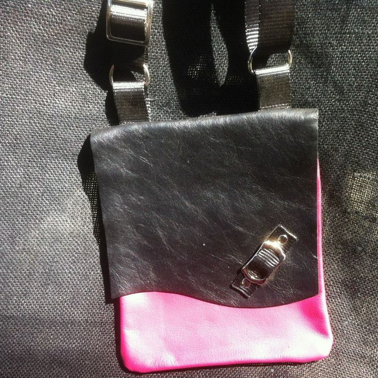 Leather Sling Bag, Pink and Black. Meausures 18cm Wide and 24cm Height.