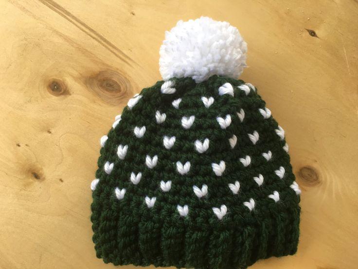 Fair Isle Adult Crochet Beanie with Pom Pom Mini Heart Hat by WendydaeHandmade on Etsy