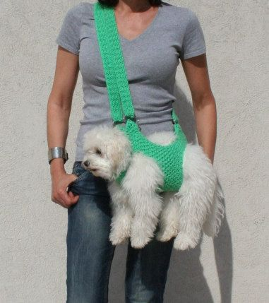 Pet carrier / Crochet dog carrier / BubaDog pet by BubaDog on Etsy, $38.00