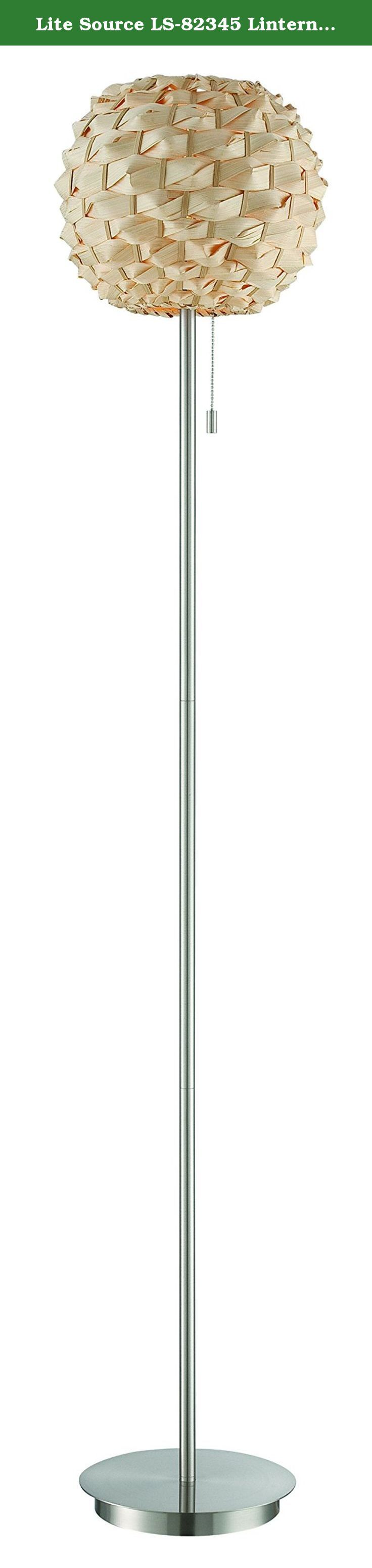 Lite Source LS-82345 Linterna Floor Lamp, Polished Steel. The LS-82345 Lantern Floor Lamp features polished steel with a rattan shade. Includes one compact fluorescent 23-watt bulb. Item Dimensions: 13-Inch long, 13-Inch wide, 64.5-Inch high. Shade is a socket ring shade. Shade Dimensions: Top is 5-Inch long, 5-Inch wide and 10-Inch high; Base is 5-Inch in diameter. Lamp features an E27 socket and an on/off pull-chain switch. Assembly required. Covered by a 1-Year manufacturer's warranty....