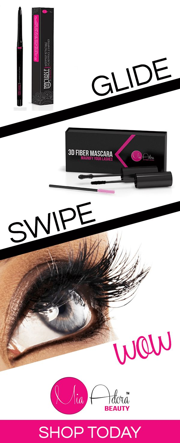 Want to create a dramatic look in three easy steps? Look no further than Mia Adora. Get the puuurfect cat eye in seconds with our Immovable Eyeliner Pencil's high precision, easy glide tip. Then swipe on a couple of coats of the 3D Fiber Lash Mascara to achieve longer and thicker lashes. Come rain or come shine, our waterproof, smudge-proof eye products will not let you down. Shop Mia Adora now.