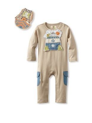 73% OFF Pickle Peas Baby Long Sleeved Romper and Bib Bundle (Pebble/Storm)