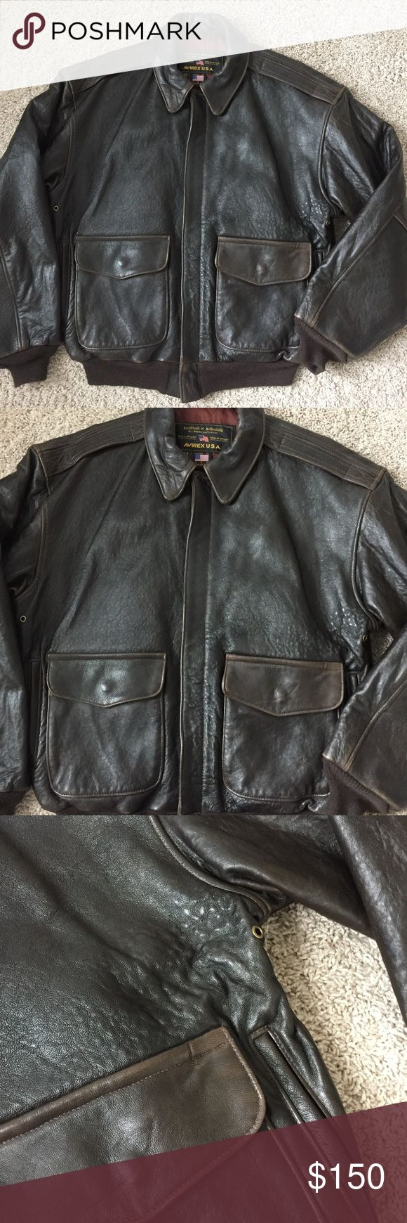 """Vintage Men's Leather Bomber Avirex Jacket Good used condition  No major signs of wear (a few marks in the leather from age & wear) Size Medium  Measurement approximately.... Shoulder to shoulder 22"""" Armpit to armpit 24"""" Arm length 25"""" Total length (shoulder to bottom) 27"""" avirex Jackets & Coats"""