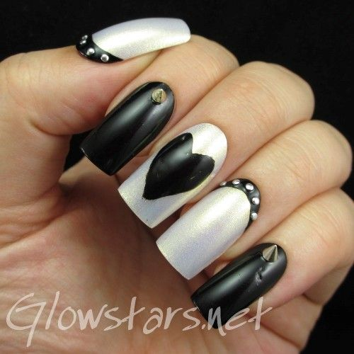 Monochrome Hearts and Studs: A manicure using OPI Ski Slope Sweetie and a Black Franken