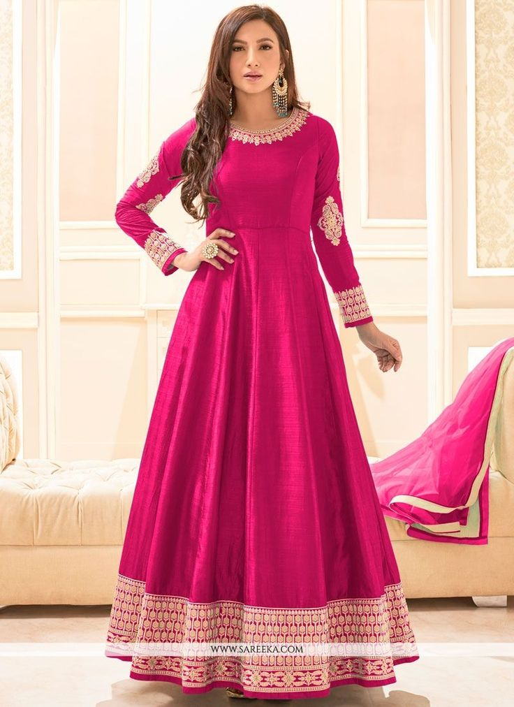 Genuine magnificence can come out from your dressing style and design with this hot pink art silk floor length anarkali suit. The enticing embroidered, lace and resham work a intensive element of this...