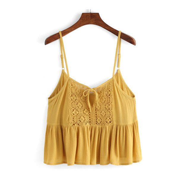SheIn(sheinside) Spaghetti Strap Lace Insert Ruffle Hem Cami Top ($13) ❤ liked on Polyvore featuring tops, tank tops, shirts, crop tops, yellow, brown crop top, cropped tank tops, brown tank top, yellow shirt and crop shirt