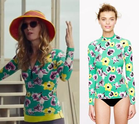 The Other Woman movie: Kate King's (Leslie Mann) green, floral-print rashguard/swim top by J. Crew #getthelook #lesliemann #theotherwoman