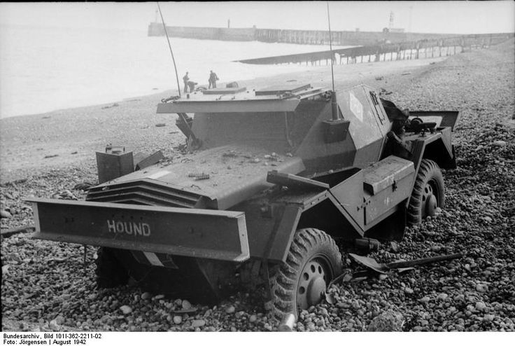 British Daimler Scout Car 'Hound' abandoned on the beach after the failed raid on Dieppe, France, Aug 1942 (German Federal Archive: Bild 101I-362-2211-0)