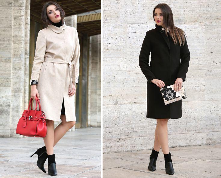 Wool & cotton YOKKO   fall16 #coats #wool #warm #cotton #beige #black #fall #fashion #yokkoinspiration