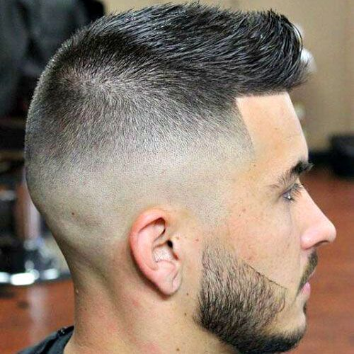 High Razor Fade with Spiked Crew Cut and Beard
