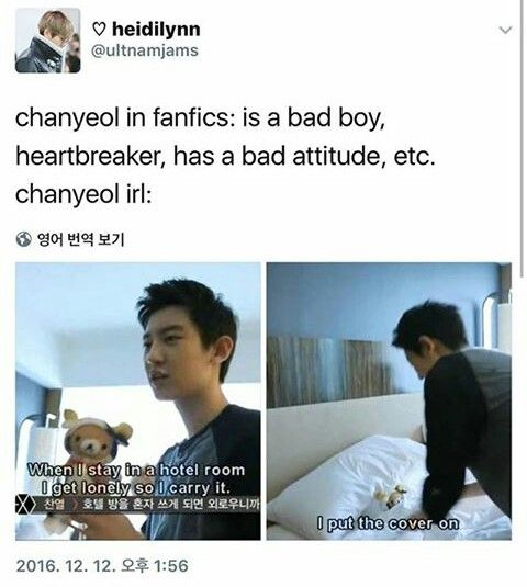 It's true tho, but I enjoy bad boy Chanyeol in fics so I'm fine with this XD