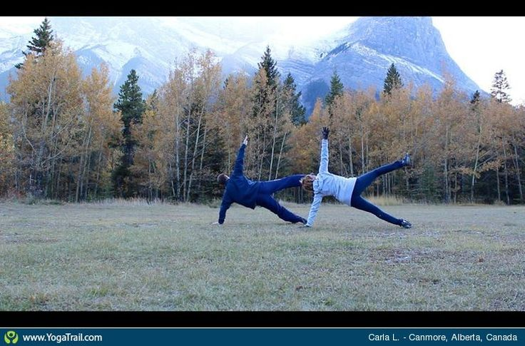 #Yoga Poses Around the World: Side Plank Pose taken in Canmore, Alberta, Canada by Carla L.