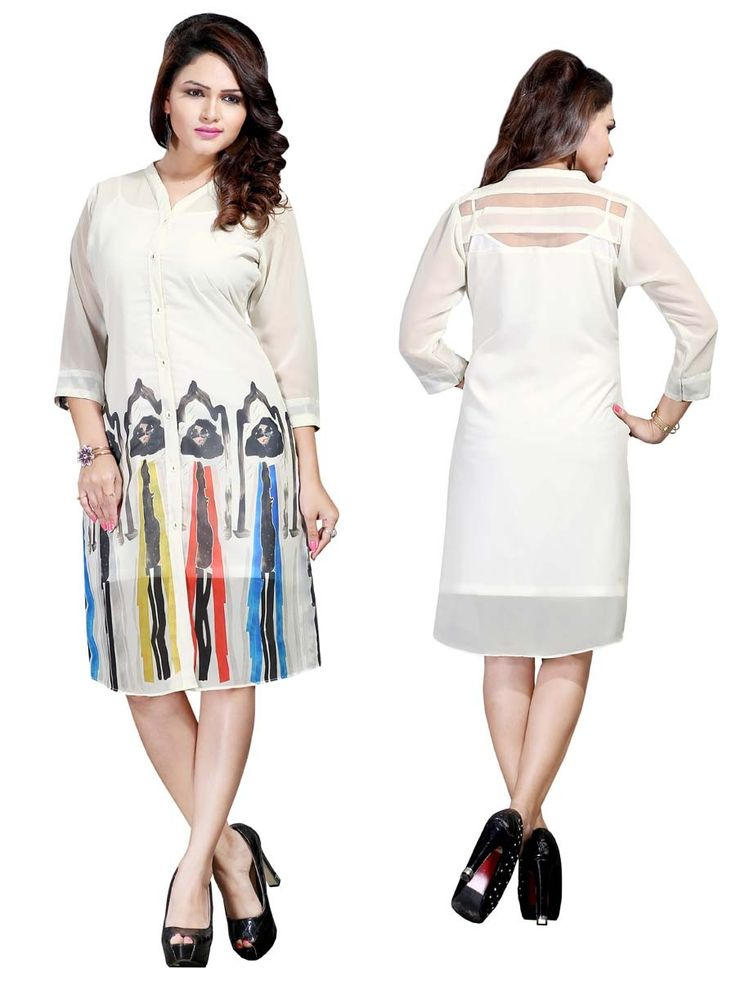 Amazing off white color kurti designed on georgette with front panel and 3/4 sleeves. Item Code: KRUM238 http://www.bharatplaza.com/new-arrivals/kurtis.html