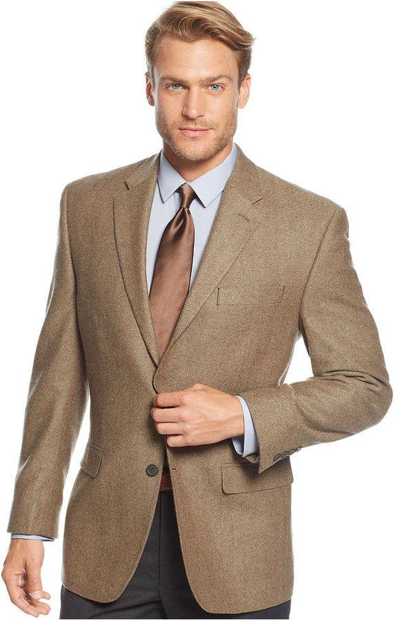 Cashmere Blend Herringbone Classic Fit Sport Coat Coats
