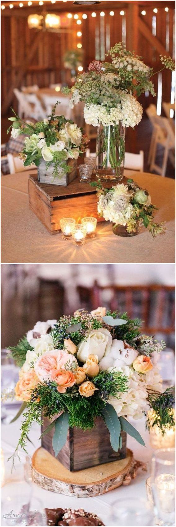 Rustic country wooden crate wedding centerpiece decor ideas / http://www.deerpearlflowers.com/rustic-woodsy-wedding-trend-2018-wooden-crates/ #rusticweddings #countryweddings