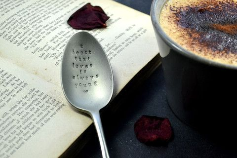Pretty Little Silver - 'A Heart That Loves Is Always Young' Hand Stamped Personalised Spoon £12 www.prettylittlesilver.co.uk