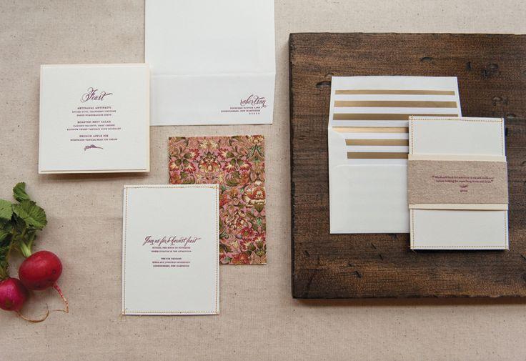 Harvest Feast Invitations   Design and Letterpress Printing: Gus & Ruby Letterpress   Photo Credits: Brea McDonald Photography