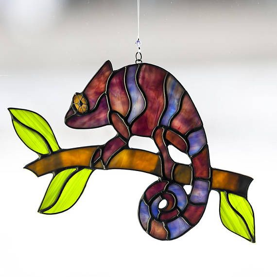 Chameleon, stained glass chameleon suncatcher, stain glass chameleon ornament on Etsy