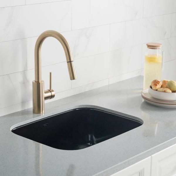Kraus Oletto Single Handle Pull Down Sprayer Kitchen Faucet In Gold Kpf 2620bb The Home Depot In 2020 Kitchen Faucet Gold Kitchen Faucet Faucet