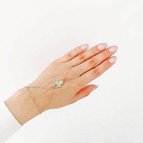 """Remi Bijou - braccialetto anello """"Sahmeran"""", bracciale alla schiava,motivo con mano di Fatima """"Hamsa"""" e occhio di Allah, ottone, colore: argento, cod. Jadi 7 Silber: Amazon.it: Gioielli"""