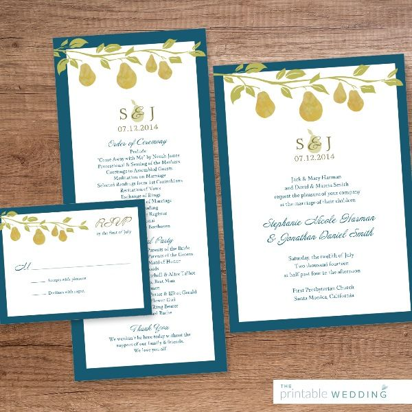 A perfect summer design! Framed in blue with a delicate image of fruits and leaves, ideal for a garden wedding. | Printable Golden Pear Wedding Stationery Set from #ThePrintableWedding