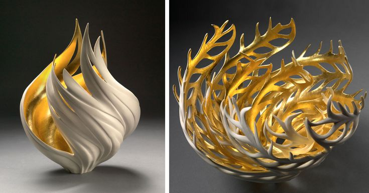 Nature-Inspired Vases That Glow With An Inner Golden Fire | Bored Panda
