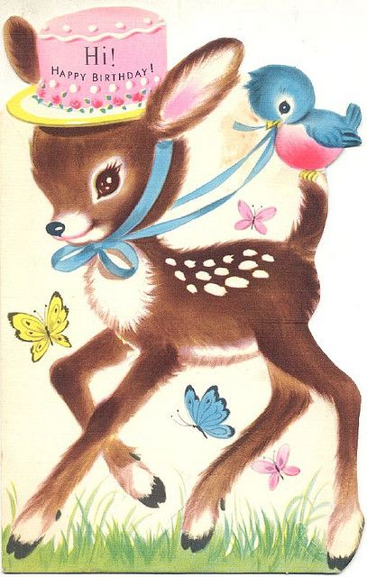 Hi Happy Birthday : Is this the cutest little deer or what? Could be simplified to make an embroidery template