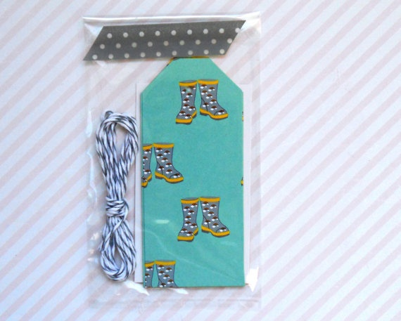 rain boots gift tags teal and citrus double sided by magdalenarose,