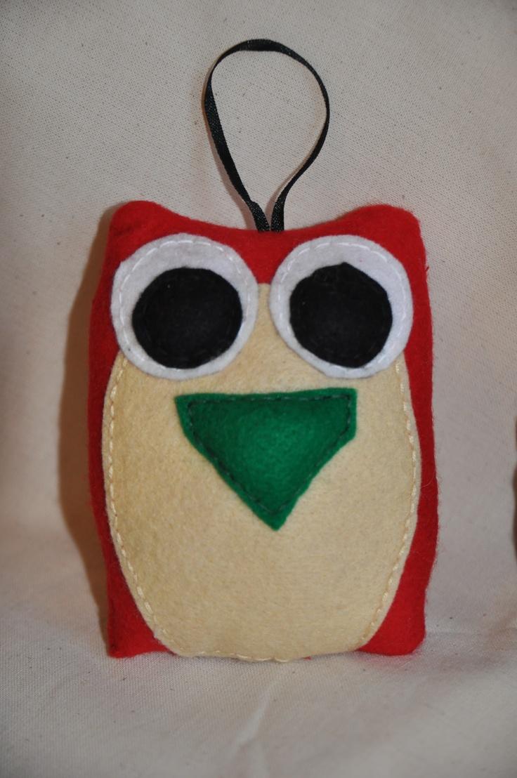 Felt owl, cuddly softoy