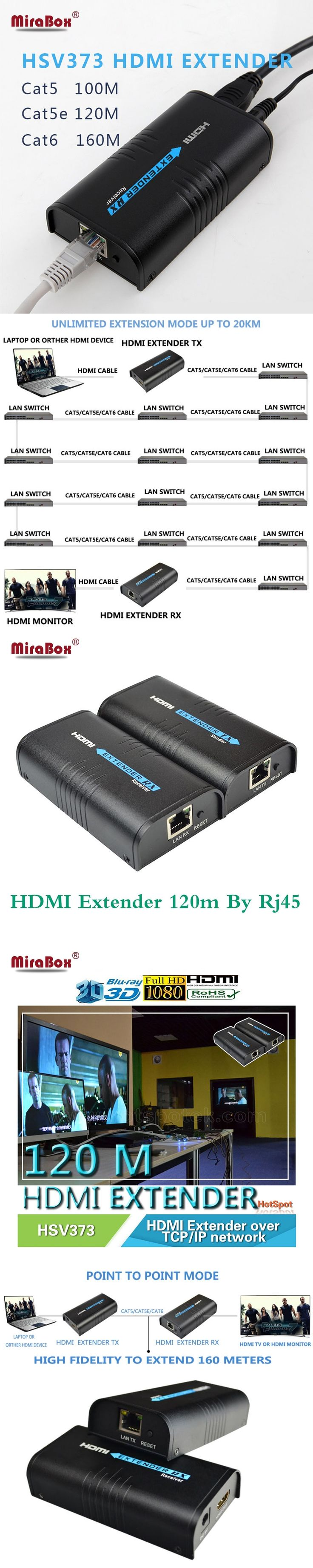 Mirabox HDMI repeater HDMI extender can extend 120m(393ft) by Rj45 cat5/cat5e/cat6 support 1080P can work like HDMI splitter