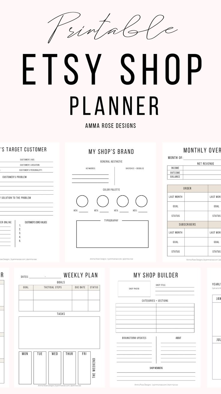Shop Planner | Business Planner | Etsy Seller Planner | Small Business | Etsy Business | Business Printable | Business Goals