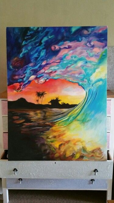 Wave painting by Ashleigh Papas. JHB, South Africa 1.5m x 1.2m Acrylic on Canvas