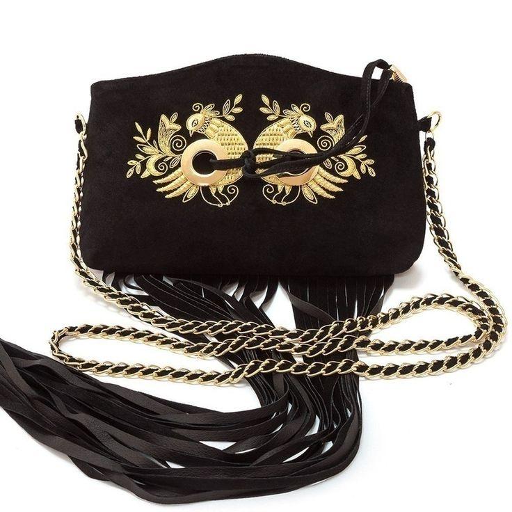 Эксклюзивный замшевый сумка с вышивкой ручной работы   Торжокские золотошвеи