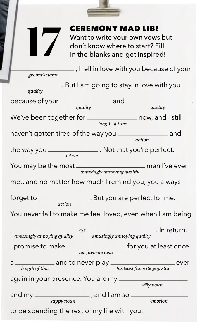 Wedding vow Mad Lib from Brides Magazine Funny wedding vows