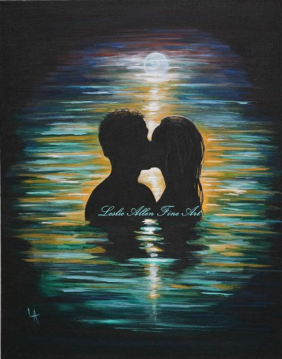 Couple Painting ~ Couples Romantic Painting by Leslie Allen ~ FineArt, $125.00 https://www.etsy.com/listing/163021243/couple-painting-couples-romantic?