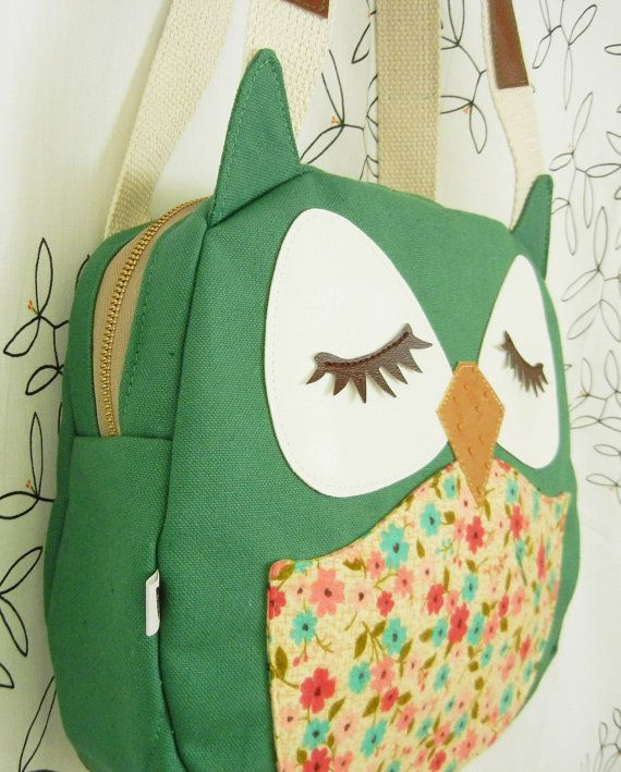 Wendy the Owl Applique Canvas Tote Purse Handbag Shoulder by Cuore