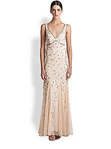 Sue Wong - Beaded & Floral Embroidered Tulle Gown